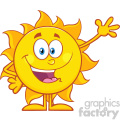 happy sun cartoon mascot character waving for greeting vector illustration isolated on white background