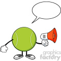 tennis ball faceless cartoon mascot character an announcement into a megaphone with speech bubble vector illustration isolated on white background gif, png, jpg, eps, svg, pdf
