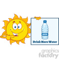 talking sun cartoon mascot character pointing to a sign with text drink more water vector illustration isolated on white background