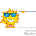talking sun cartoon mascot character with sunglasses pointing to a blank sign vector illustration isolated on white background