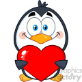 cute penguin cartoon character holding a valentine heart vector illustration isolated on white