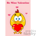 9171 cute yellow chick cartoon character holding a valentine love heart vector illustration isolated greeting card