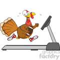 football turkey bird cartoon character running on a treadmill vector illustration isolated on white