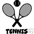 crossed racket and tennis ball black silhouette vector illustration isolated on white with text tennis