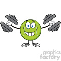 smiling tennis ball cartoon mascot character working out with dumbbells vector illustration isolated on white