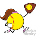 softball faceless girl player cartoon mascot character running with glove and ball vector illustration isolated on white background gif, png, jpg, eps, svg, pdf