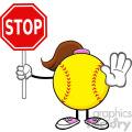 softball girl faceless cartoon mascot character gesturing and holding a stop sign vector illustration isolated on white background gif, png, jpg, eps, svg, pdf