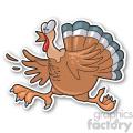 running turkey sticker vector clip art image