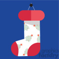 white cartoon christmas stocking on blue square with christmas trees vector flat design