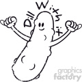 cartoon character dill with it pickle distressed vector art black white