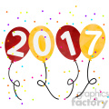 2017 new year party balloons vector art