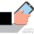 hand holding a cell phone flat design vector art no background