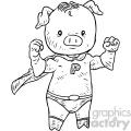 super pig character vector book illustration  gif, png, jpg, eps, svg, pdf