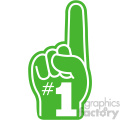 green with white number one hand vector clip art