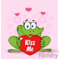 10665 Royalty Free RF Clipart Cute Frog Female Cartoon Mascot Character Holding A Valentine Love Heart With Text Kiss Me Vector With Pink Flowers Background