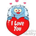 10654 Royalty Free RF Clipart Happy Little Yeti Cartoon Mascot Character Over A Valentine Love Heart Vector With Text I love You