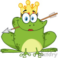 10658 royalty free rf clipart cute princess frog cartoon mascot character with crown and arrow vector illustration gif, png, jpg, eps, svg, pdf