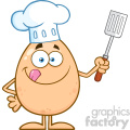 10926 Royalty Free RF Clipart Chef Egg Cartoon Mascot Character Licking His Lips And Holding A Spatula Vector Illustration