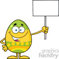 10953 Royalty Free RF Clipart Colored Easter Egg Cartoon Mascot Character Holding A Blank Sign Vector Illustration