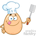 10962 Royalty Free RF Clipart Chef Egg Cartoon Mascot Character Licking His Lips And Holding A Spatula Vector Illustration
