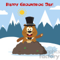 10648 Royalty Free RF Clipart Happy Marmmot Cartoon Mascot Character With Cylinder Hat Waving In Groundhog Day Vector Flat Design With Background And Text Happy Groundhog Day