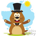 10633 royalty free rf clipart happy marmot cartoon mascot character wearing a hat and welcoming under sunshine vector flat design with background isolated on white gif, png, jpg, eps, svg, pdf