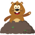 10641 Royalty Free RF Clipart Happy Marmmot Cartoon Mascot Character Waving In Groundhog Day Vector Flat Design