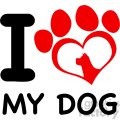 10706 royalty free rf clipart red heart paw print with claws and dog head silhouette logo design vector with text i love my dog gif, png, jpg, eps, svg, pdf