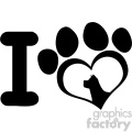 10713 Royalty Free RF Clipart I Love With Black Heart Paw Print With Claws And Dog Head Silhouette Logo Design Vector Illustration