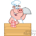 10717 Royalty Free RF Clipart Chef Pig Cartoon Mascot Character With A Cloche Platter Over A Wooden Sign Giving A Thumb Up Vector Illustration