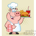 10726 Royalty Free RF Clipart Chef Pig Cartoon Mascot Character Holding A Tray Of Fast Food And Giving A Thumb Up Vector Over Halftone Background