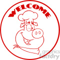 10731 royalty free rf clipart winking chef pig cartoon mascot character red circle banner with text welcome vector illustration gif, png, jpg, eps, svg, pdf