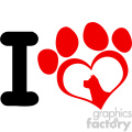 10706 royalty free rf clipart i love with red heart paw print with claws and dog head silhouette logo design vector illustration gif, png, jpg, eps, svg, pdf