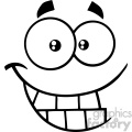 10912 Royalty Free RF Clipart Black And White Smiling Cartoon Funny Face With Smiley Expression Vector Illustration