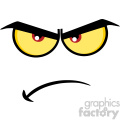 10853 Royalty Free RF Clipart Angry Cartoon Funny Face With Grumpy Expression Vector Illustration