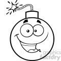 10811 Royalty Free RF Clipart Black And White Happy Bomb Face Cartoon Mascot Character With Expressions Vector Illustration