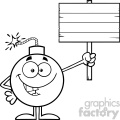 10803 royalty free rf clipart black and white smiling bomb cartoon mascot character holding a wooden blank sign vector illustration gif, png, jpg, eps, svg, pdf