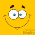 10892 Royalty Free RF Clipart Smiling Cartoon Square Emoticons With Happy Expression Vector With Yellow Background