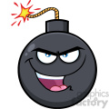 10834 Royalty Free RF Clipart Evil Bomb Face Cartoon Mascot Character With Smiling Expressions Vector Illustration