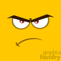 10887 Royalty Free RF Clipart Angry Cartoon Square Emoticons With Grumpy Expression Vector With Yellow Background