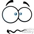 10867 Royalty Free RF Clipart Nervous Cartoon Funny Face With Panic Expression Vector Illustration