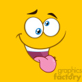 10897 Royalty Free RF Clipart Mad Cartoon Square Emoticons With Crazy Expression And Protruding Tongue Vector With Yellow Background