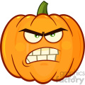 Angry Orange Pumpkin Vegetables Cartoon Emoji Face Character With Grumpy Expression
