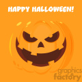 Evil Halloween Pumpkin Cartoon Emoji Face Character Vector Illustration Flat Design Style With Background And Text Happy Halloween