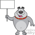 Royalty Free RF Clipart Illustration Happy Gray Bulldog Cartoon Mascot Character Holding A Blank Sign Vector Illustration Isolated On White Background