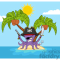 Royalty Free RF Clipart Illustration Angry Pirate Octopus Cartoon Mascot Character With A Sword Gun And Hook On A Tropical Island Vector Illustration With Background
