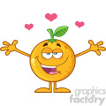 Royalty Free RF Clipart Illustration Happy Orange Fruit Cartoon Mascot Character With Hearts And With Open Arms For Hugging Vector Illustration Isolated On White Background