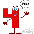 Happy Red Number Four Cartoon Mascot Character Waving For Greeting With Speech Bubble And Text Four