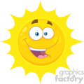 Royalty Free RF Clipart Illustration Happy Yellow Sun Cartoon Emoji Face Character With Expression Vector Illustration Isolated On White Background