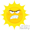 Royalty Free RF Clipart Illustration Angry Yellow Sun Cartoon Emoji Face Character With Aggressive Expressions Vector Illustration Isolated On White Background